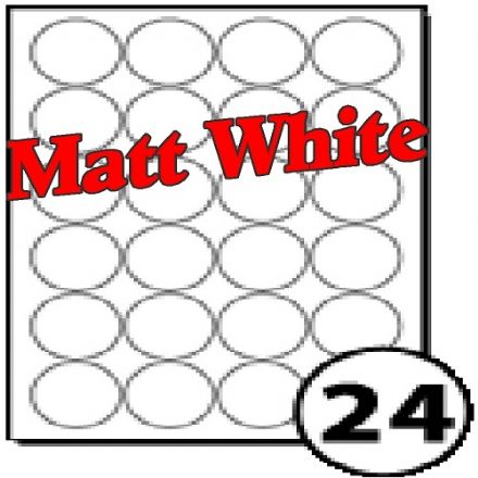45mm Diameter Matt White Polyester Labels (24 per sheet)
